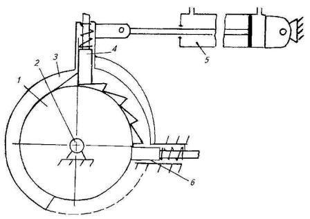 реверсивный механизм прокрутки рабочих органов жатвенной части (схема)
