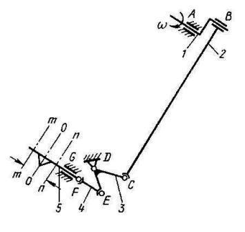 схема шестизвенного пространственного механизма привода ножа комбайнов