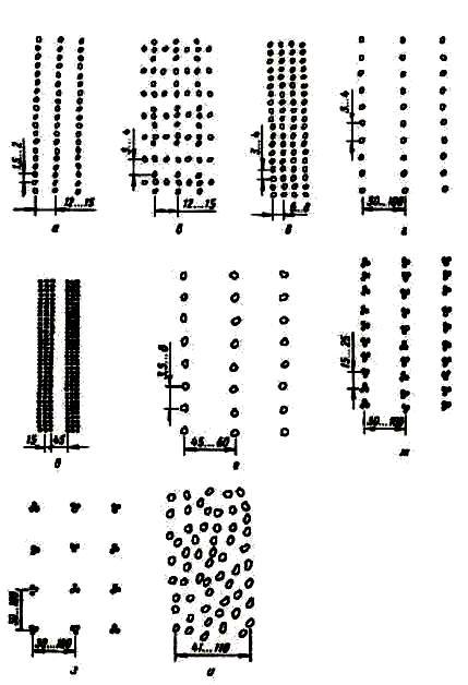Способы (схемы) посева и посадки (размеры указаны в сантиметрах)