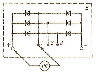 Проверка диодов выпрямительного блока омметром
