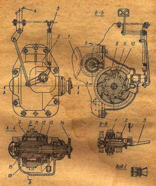 Раздаточная коробка с управлением трактора МТЗ-52