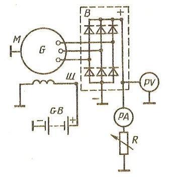 Схема испытания генератора переменного тока