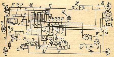 Схема электрооборудования и контрольных приборов трактора ДТ-75К