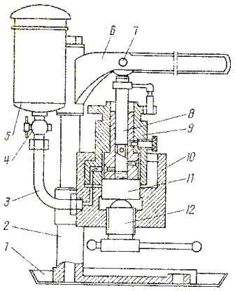 схема устройства КИ-759 для проверки состояния плунжерной пары