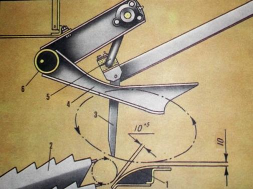 Положение щитка сброса соломы относительно клавишей и граблин соломонабивателя
