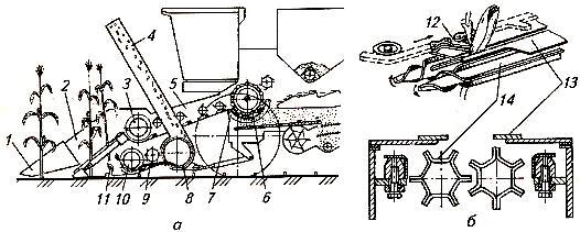 Схемы приспособлений к зерноуборочному комбайну для уборки кукурузы на зерно (А) и початкоотделяющего аппарата (Б)
