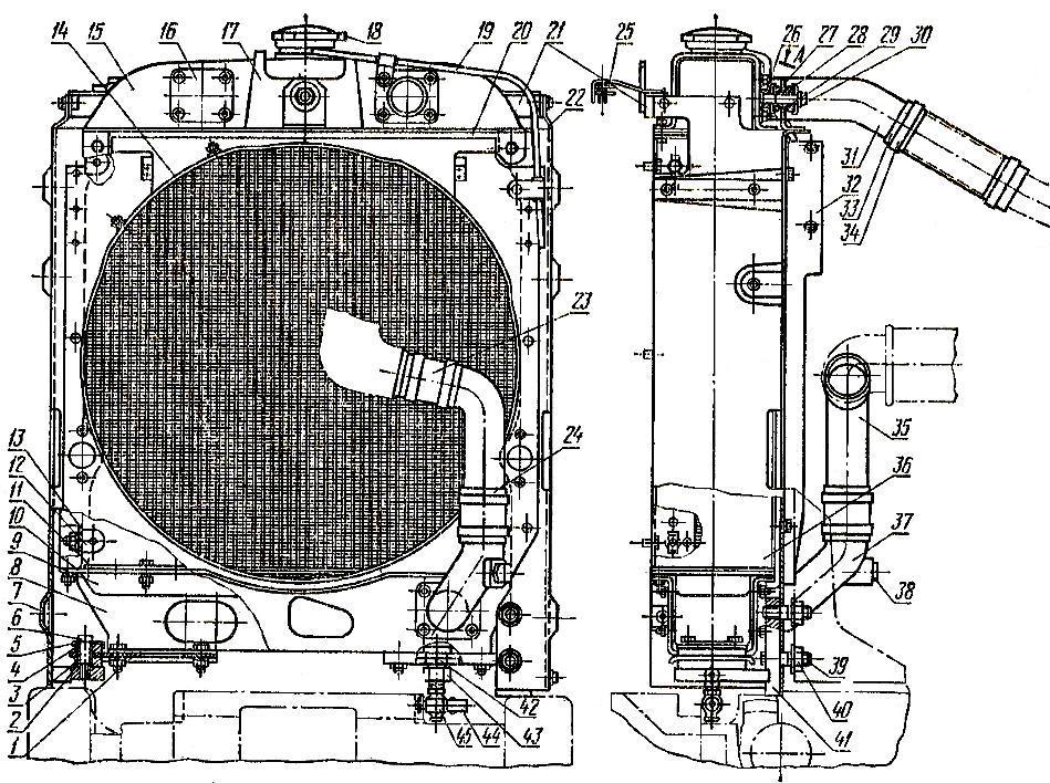 Водяной радиатор двигателя