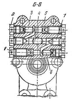 Распределитель вторичного вала КПП трактора Т-150 (разрез Б-Б)