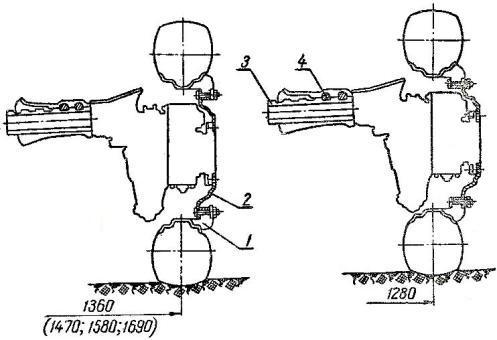 Схема изменения колеи передних