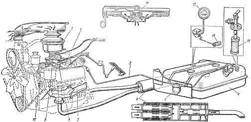 Схема системы питания двигателя ЗИЛ-130