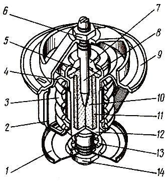 Термостат системы охлаждения двигателя СМД-66 трактора ДТ-175С «Волгарь»