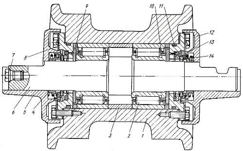 Опорные катки ходовой части трактора Т-130М