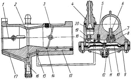 Схема карбюратора К-06 пускового двигателя ПД-10У тракторов МТЗ-50, МТЗ-50Л, МТЗ-52, МТЗ-52Л