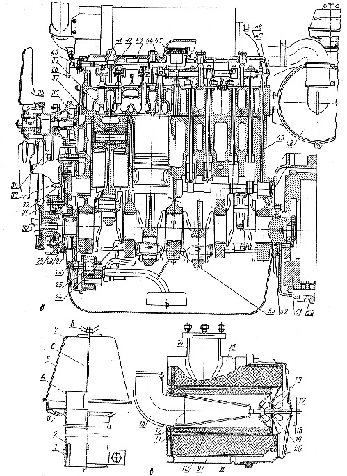 Двигатель СМД-14НГ (продольный разрез) и воздухоочиститель трактора ДТ-75Б