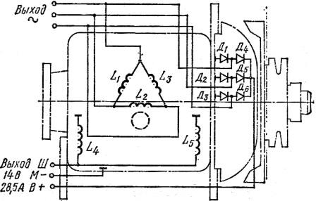 Электросхема генератора Г306 трактора ДТ-75