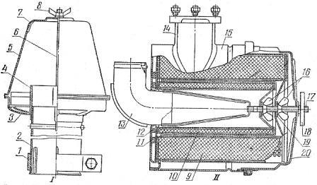 Воздухоочиститель двигателя СМД-14НГ (продольный разрез) трактора ДТ-75Б