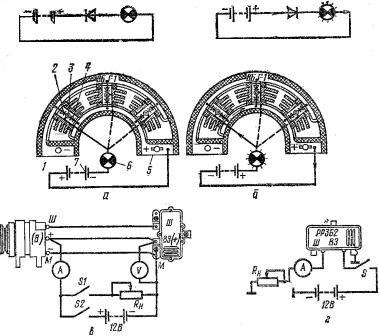 Схема проверки диодов выпрямительного блока ВБГ-1