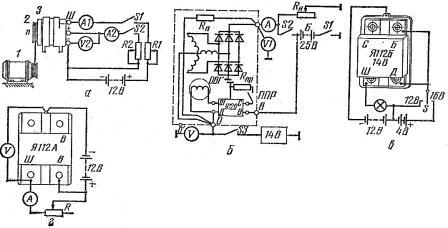 Схемы проверки генераторов переменного тока и ИРН